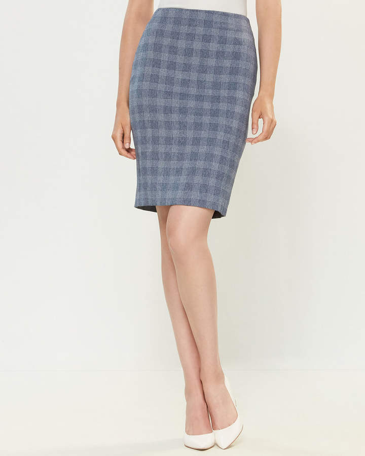 Tommy Hilfiger & Ivory Plaid Straight Skirt