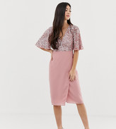 Maya Petite sequin top midi pencil dress with flutter sleeve detail in vintage rose