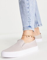 Asos DESIGN Dotty slip on plimsolls in grey