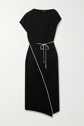 Theory Admiral Silk-trimmed Crepe Wrap Dress - Black