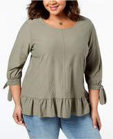 Style&Co. Style & Co Plus Size Jacquard Tie-Sleeve Swing-Hem Top, Created for Macy's