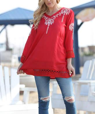 Ananda's Collection Women's Tunics crimson - Crimson Red Floral Tunic - Women