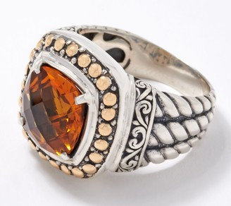 Artisan Crafted Gemstone Cable Ring with 18K Gold Accents, Sterling Silver