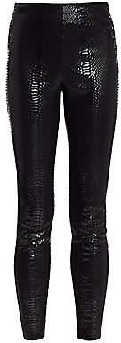 Alice + Olivia Women's Maddox Crocodile-Embossed Leather Leggings
