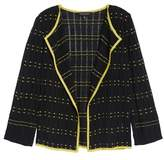 Ming Wang Check Pointelle Knit Jacket