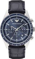 Emporio Armani Stainless Steel Black Leather Strap Chronograph, AR6089