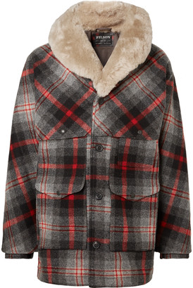 Filson Limited Edition Packer Shearling-trimmed Checked Wool Coat - Gray