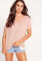 Missguided Petite Exclusive V-Neck Top Pink
