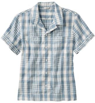 L.L. Bean Women's Premium Washable Linen Camp Shirt, Short-Sleeve Plaid