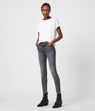 AllSaints Miller Mid-Rise Superstretch Skinny Jeans, Vintage Black