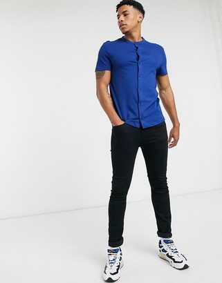 ASOS DESIGN organic short sleeve muscle fit jersey shirt with grandad collar in navy
