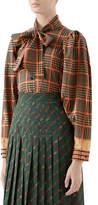 Gucci G Tartan-Print Tie-Neck Blouse