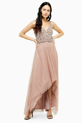 Womens **Mauve Embellished Maxi Dress By Lace & Beads - Mauve