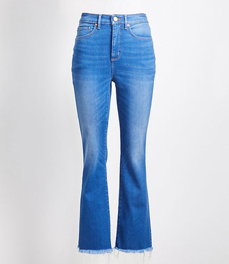 LOFT Petite Curvy Back Slit Flare Crop Jeans in Authentic Mid Indigo Wash