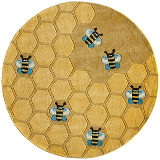 Momeni Lil Mo Whimsy Polyester, Hand-Tufted Rug, Honey Comb Gold, 5'x5' Round