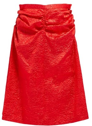 Toga Gathered Crinkled-satin Skirt - Womens - Red