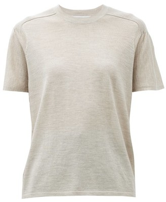 Gabriela Hearst Bravo Ribbed-shoulder Cashmere-blend Knit Top - Beige