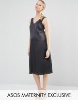 Asos Lattice Detail Midi Slip Dress