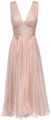 Maria Lucia Hohan Sorena Metallic Silk Midi Dress