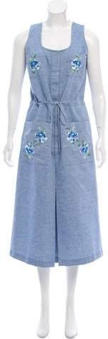 Vilshenko Embroidered Chambray Dress