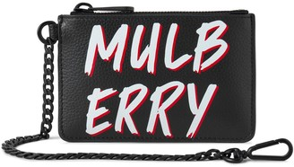 Mulberry Coin Zipped Wallet Black Graffiti Print on Small Classic Grain