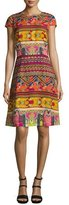 Etro Ribbon-Print Cap-Sleeve A-Line Dress, Red/Multi