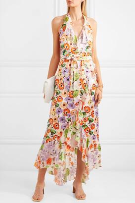 ALICE + OLIVIA - Evelia Ruffled Floral-print Georgette Dress - Orange