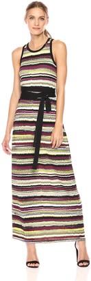 Jones New York Women's Vista Stripe PRT Maxi Dress W/tie Waist