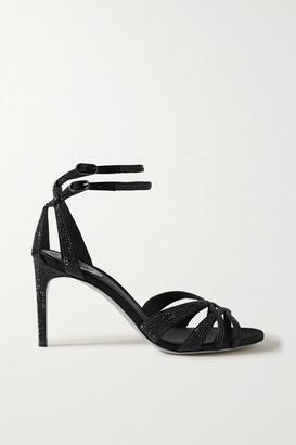 Rene Caovilla Crystal-embellished Satin Sandals - Black