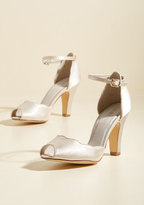 Scallop Your Alley Peep Toe Heel in Ivory in 40