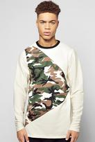 Boohoo Longline Camo Spliced Sweater With Textured Sleeves