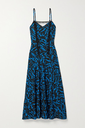 Jason Wu Pleated Lace-trimmed Zebra-print Crepe Midi Dress - Cobalt blue