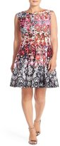 Julian Taylor Womens Plus Size All Over Floral Printed Fit and Flare Dress (18W)