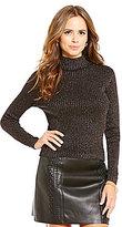 Gianni Bini Libby Rib Lurex Mock Neck Sweater