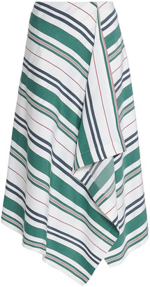 Pringle Draped Striped Linen And Silk-blend Midi Skirt