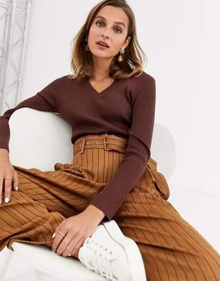 Gianni Feraud v-neck knit jumper in brown