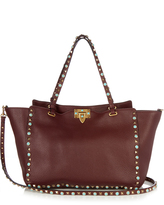 Valentino Rockstud Rolling leather tote