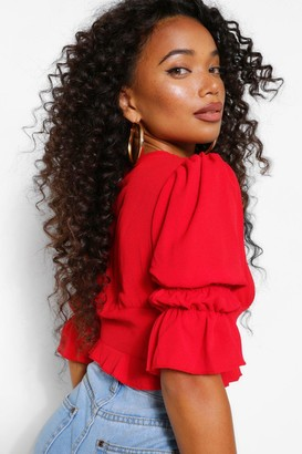 boohoo Petite Statement Sleeve Cropped Blouse