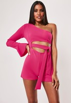 Missguided Pink One Shoulder Tie Cut Out Playsuit