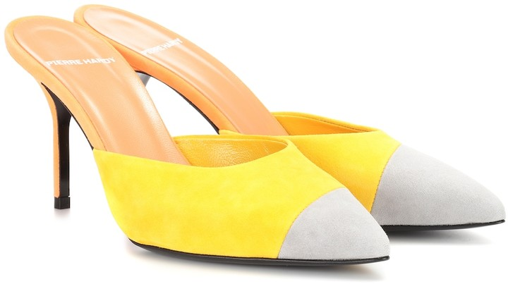 Pierre Hardy Colour-blocked leather mules