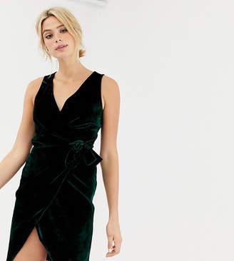 Parisian Tall tie side velvet dress-Green