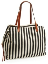 Sole Society 'Oversize Millie' Stripe Print Tote - Black
