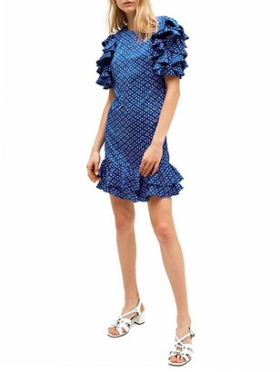 Kate Spade Geo Dot Satin Ruffle Dress