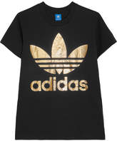 adidas Trefoil Metallic Printed Cotton-jersey T-shirt - Black