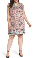 London Times Plus Size Women's Star Tile Shift Dress