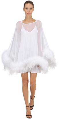 Stefano De Lellis Georgette Caftan Dress W/ Feathers