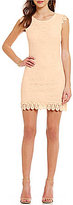 Sequin Hearts Cap-Sleeve Lace Sheath Dress