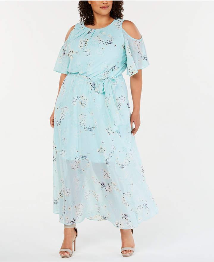 Plus Size Cold-Shoulder Floral Maxi Dress