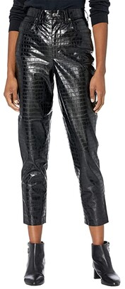 Blank NYC Leather Pressed Alligator High-Rise Five-Pocket Pants (Dirt Rich) Women's Casual Pants