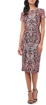 JS Collections Soutache Embroidery Sheath Cocktail Dress